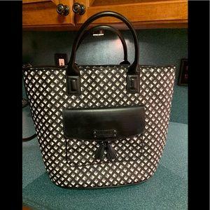 Vera Bradley Large Tassel Tote Bag Black & White